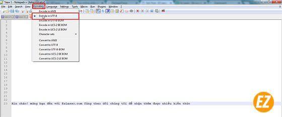 chuyển mã hóa tiếng việt trong notepad++