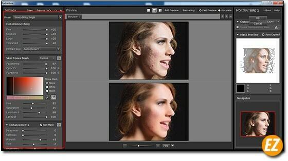 điều chỉnh các thông số trong Plugin Imagenomic Portraiture