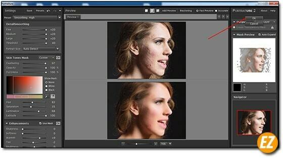 Hoàn tất quá trình sử dụng Plugin Imagenomic Portraiture