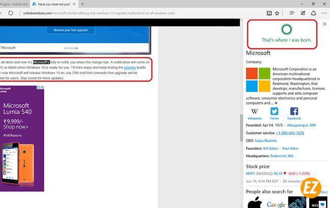 Chế độ HUD của Microsoft Edge