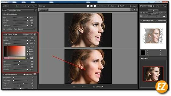 Sử dụng công cụ Skin Tones Mask