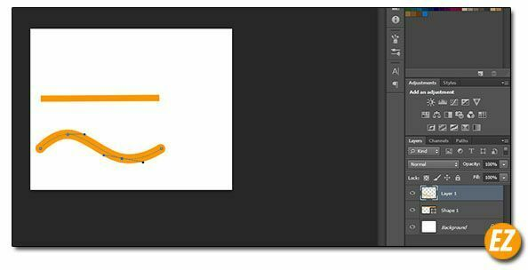 vẽ đường cong, đường thẳng trong photoshop
