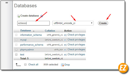 Điền tên và chọn ngôn ngữ cho database mới