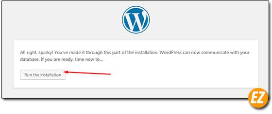 Đồng ý cài đặt wordpress