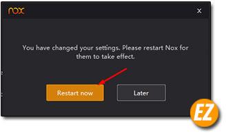 khởi động lại Nox App Player