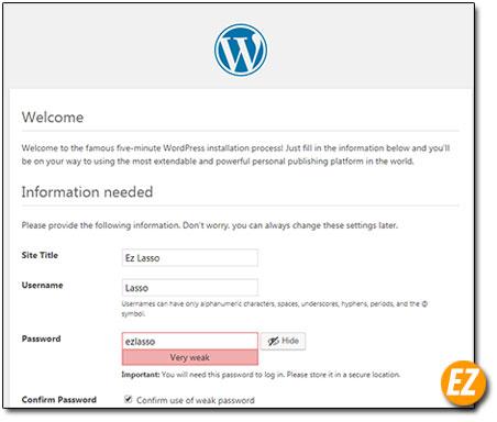 Tạo tài khoản quản trị wordpress