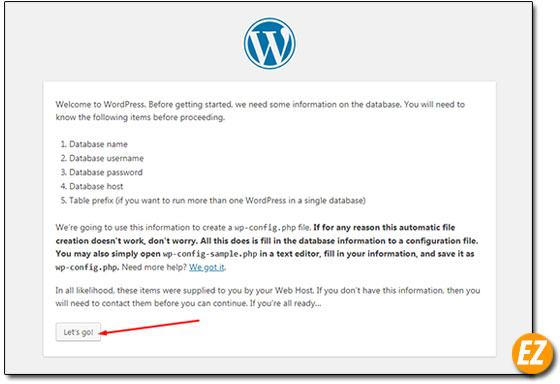 Xác nhận cài đặt wordpress