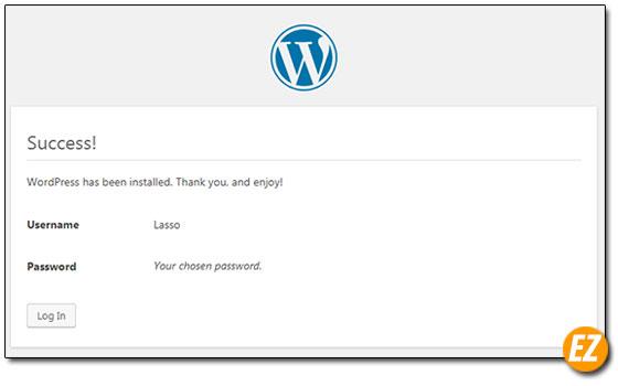 Xác nhận tạo tài khoản quản trị wordpress