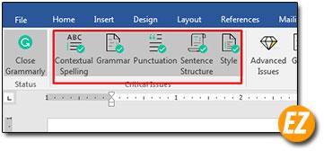 các chế độ của add in grammarly