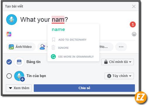 Chỉnh sửa lỗi chính tả tiếng anh trên facebook