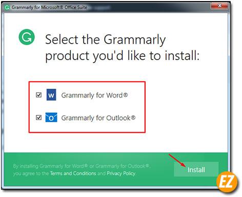 Chọn phần mềm cần sử dụng add-in grammarly
