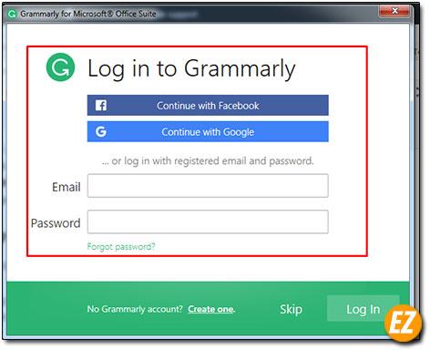 đăng nhập add-in grammarly