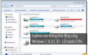 explorer.exe không khởi động cùng windows 7, 8, 8.1, 10 sửa lỗi 0xe8c71764