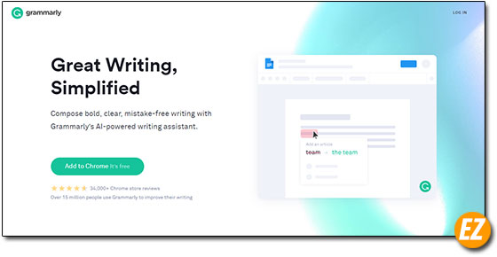Giao diện website Grammarly