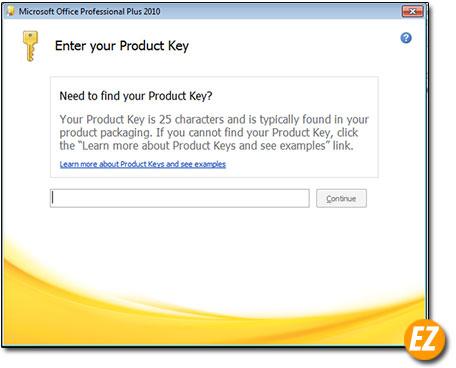 nhập key cài đặt office 2010