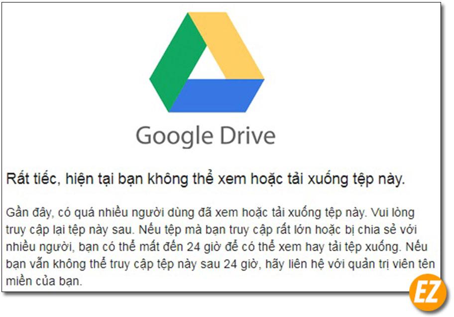 thông báo google drive giới hạn lượt tải