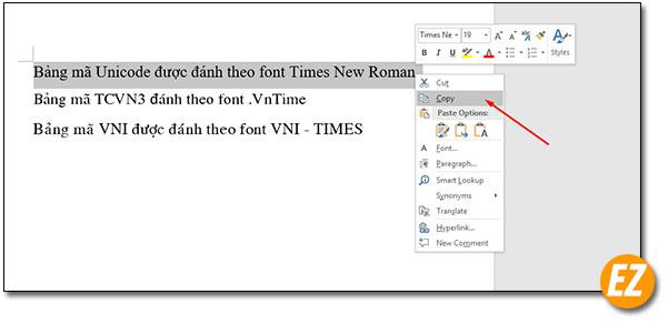 Coppy đoạn văn bản cần chuyển ffont