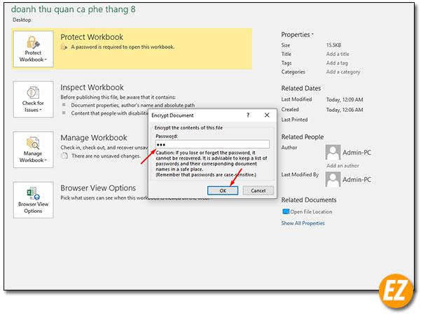 Điền mật khẩu mới cho file excel