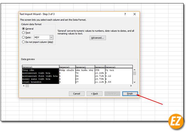 Hoàn thành các định dạng file csv trên excel