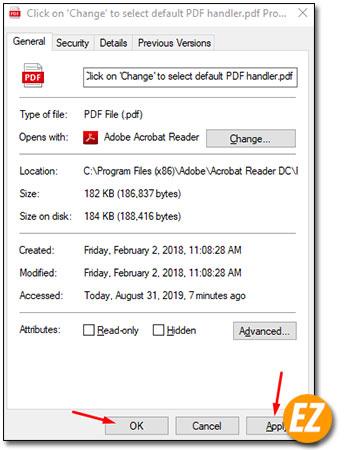 Lưu lại cài đặt phần mềm đọc pdf mặc định