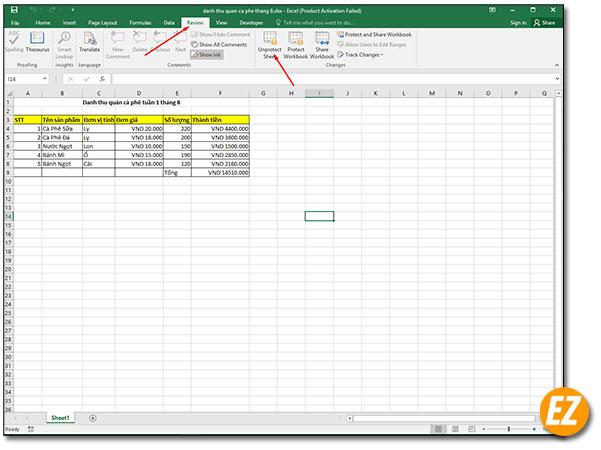 Mở chỉnh sửa cho sheet excel