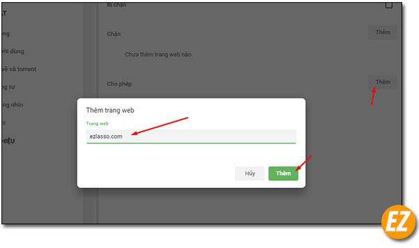 Nhận thông báo trên một trang web tại cốc cốc