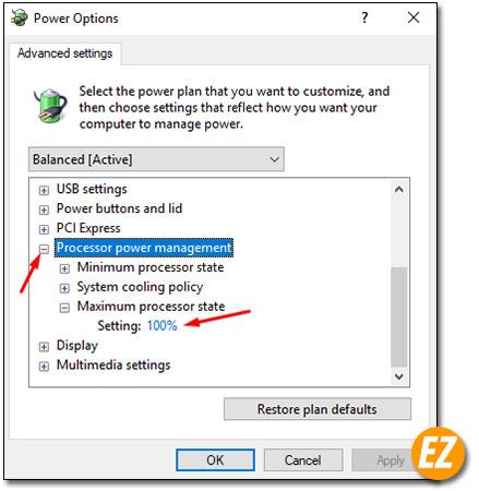 Thay đổi công suất hoạt động của CPU