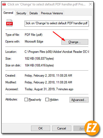 Thay đổi phần mềm mắc định đọc file PDF