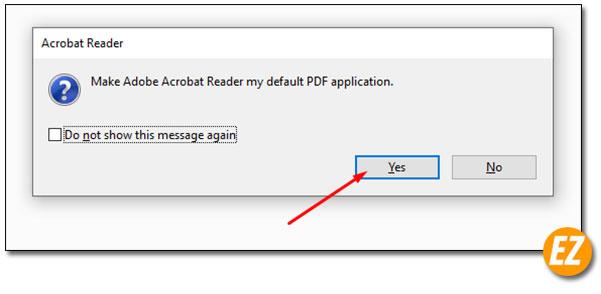 Thông báo cài đặt Adobe Reader mới nhất htành phần mềm đọc file PDF mặc định