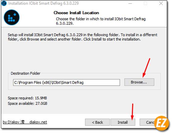 Chọn đường dẫn cài đặt IObit Defrag Pro