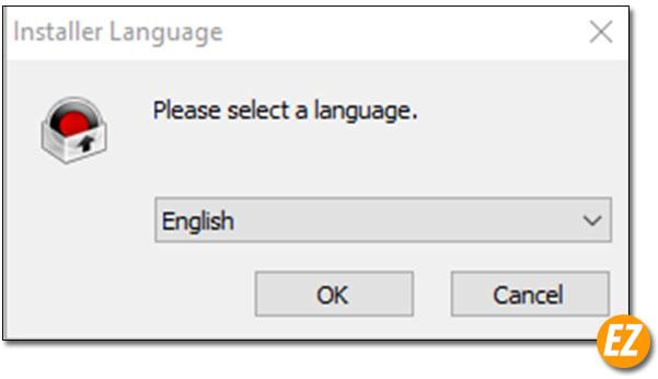 Chọn ngôn ngữ cài đặt phần mềm