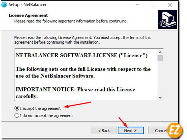 Đồng ý các chính sách sử dụng phần mềm netbalancer