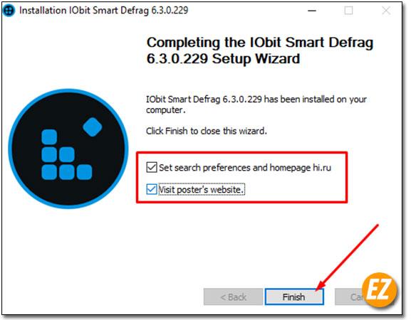 Thông bao cài đặt phần mềm IObit Defrag Pro thành công