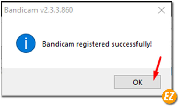 Thông báo kích hoạt bandicam thành công