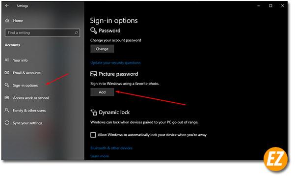 Chọn cách sử dụng hình ảnh mật khẩu đăng nhập