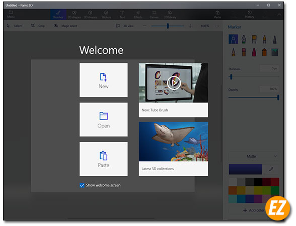 Giao diện paint 3D