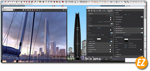 Giao diện Vray for sketchup
