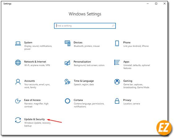 Vào cập nhập và bảo mật windows 10