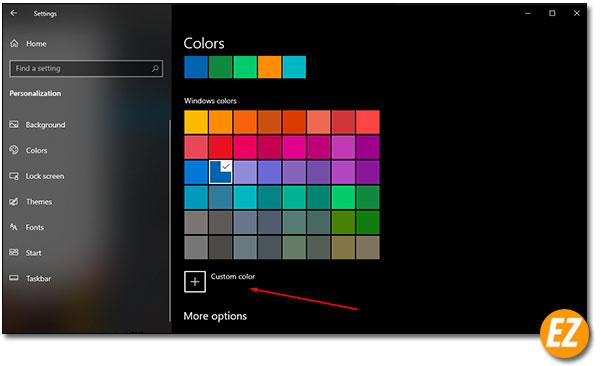 Chọn Custom Color màu sắc