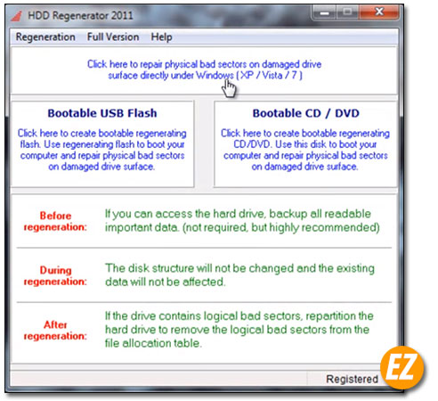 Giao diện HDD regenerator